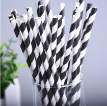 25 Pailles à diagonales - noir