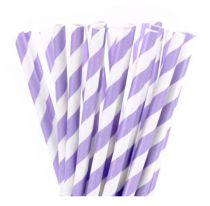 25 Pailles à rayures - Violet clair
