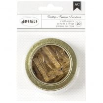 """American Crafts Magnetic Office Tins 2.5\"""" Gold Glittered Clothespins 20/Pkg"""