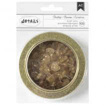 "American Crafts Magnetic Office Tins 3.5"" Gold Glitter Heart Push Pins 100/Pkg"