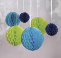 Boules alvéolées à suspendre  - Bleu, Vert
