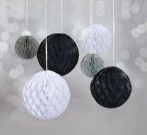 Boules alvéolées à suspendre  - Noir, Blanc, Gris