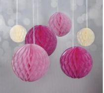 Boules alvéolées à suspendre  - Rose, Beige