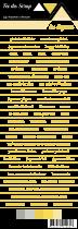 étiquette Carterie fond blanc écriture jaune pâle