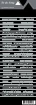 étiquette Les essentiels bandes de mots fond blanc écriture grise