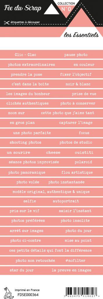 étiquette les essentiels bandes de mots saumon romantique