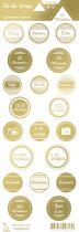 étiquette les essentiels métallisés ronds avec mots or