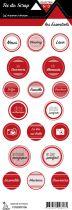 étiquette les essentiels rouge étiquettes rondes
