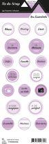 étiquette les essentiels violet moyen étiquettes rondes