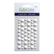 Eyelet Outlet Adhesive-Back Enamel Dots Matte white