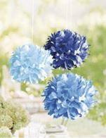 Pompons en papier - Tons Bleus