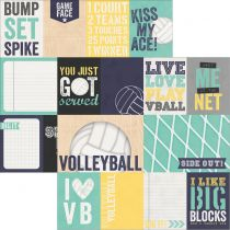 "Simple Sets Volleyball Double-Sided Elements 12""X12\"" 3\""X4\"" & 4\""X6\"" Journaling Cards"