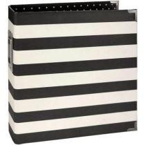 """Sn@p! Designer Binder 6\""""X8\"""" Black Stripe"""