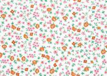 TISSU FLEURS - BLANC/ROSE 2 50 X 55 CM
