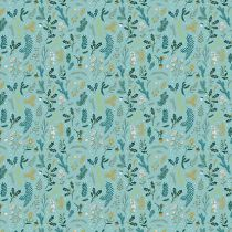 TISSU RAMEAUX - TURQUOISE/OR 50 X 140 CM