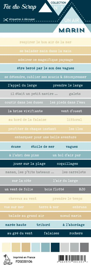 étiquette Un air marin bandes de mots