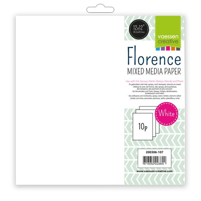 10 PAPIERS MIXED MEDIA FLORENCE 30.5 X 30.5 CM - 240 G