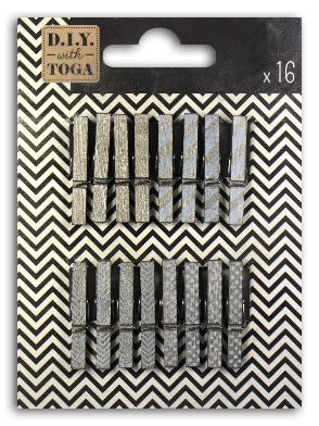 16 mini pinces à linge - Argent