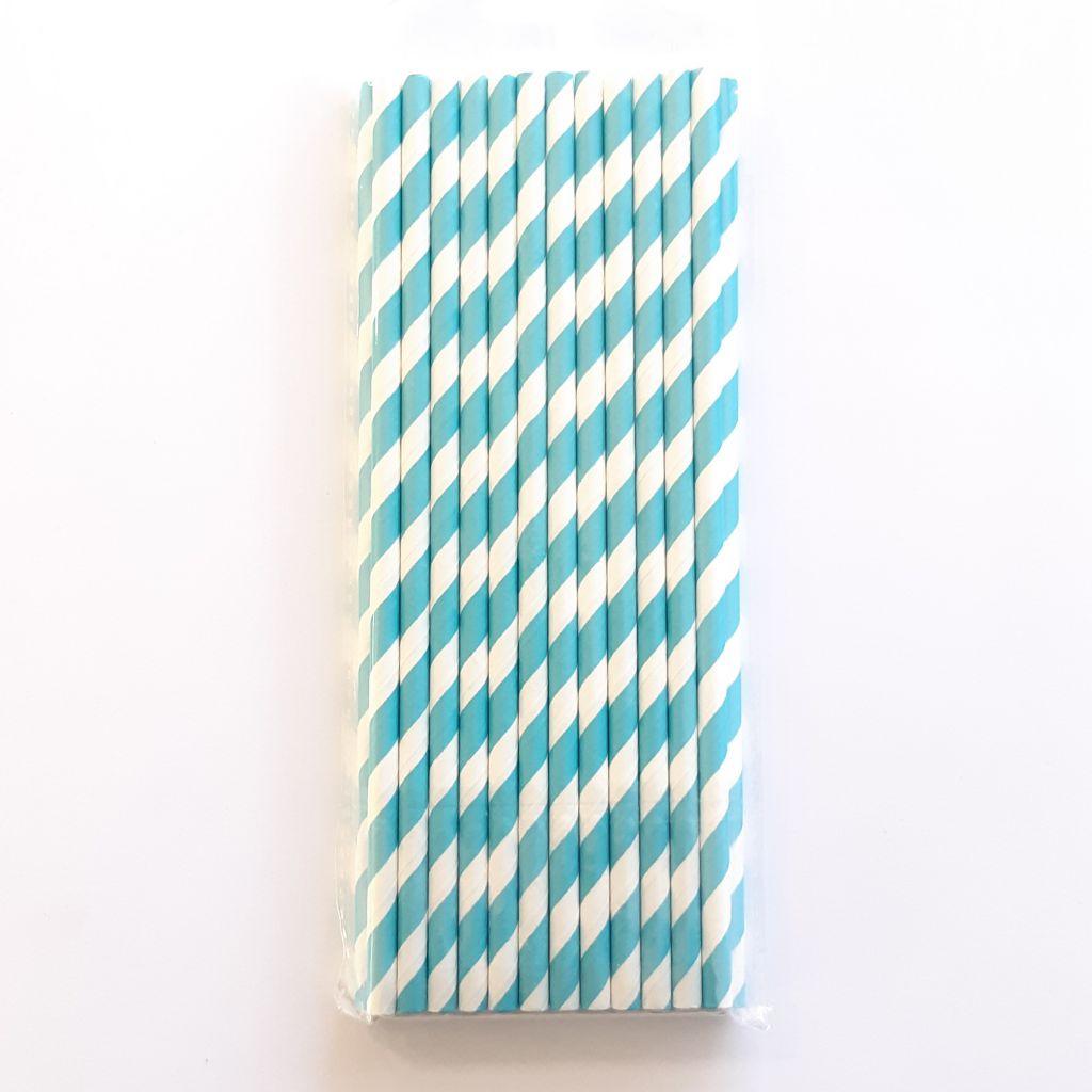 25 Pailles à diagonales - Bleu
