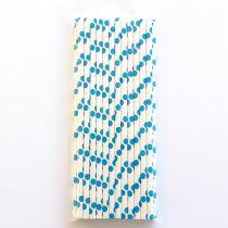 25 Pailles à pois - Bleu Foncé