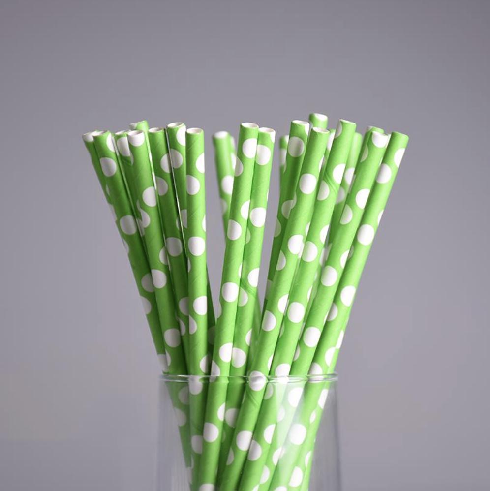 25 Pailles à pois - vert