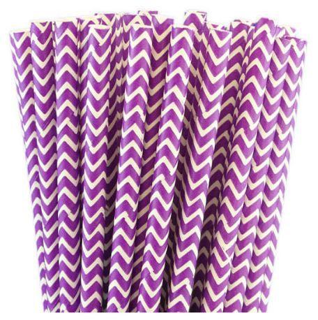 25 Pailles chevrons - Violet foncé