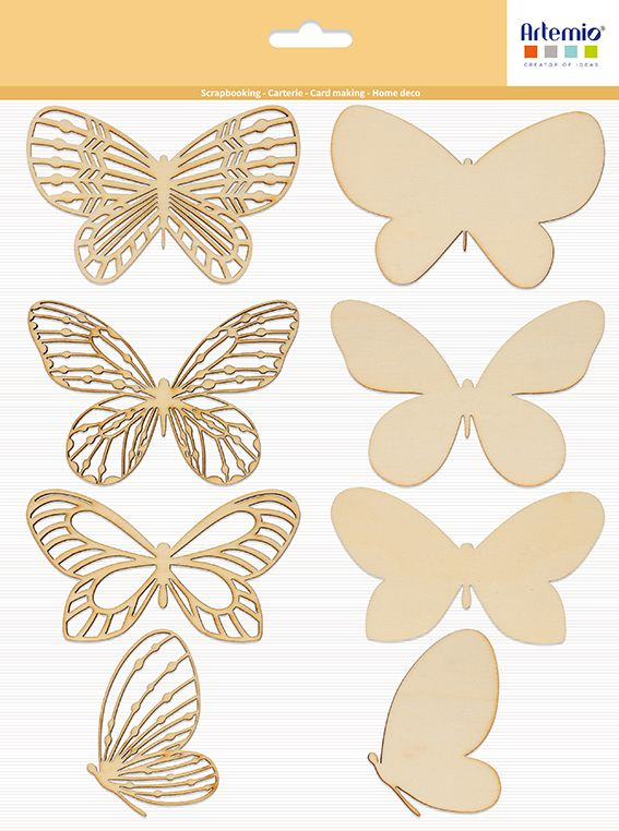 4 silhouettes papillons