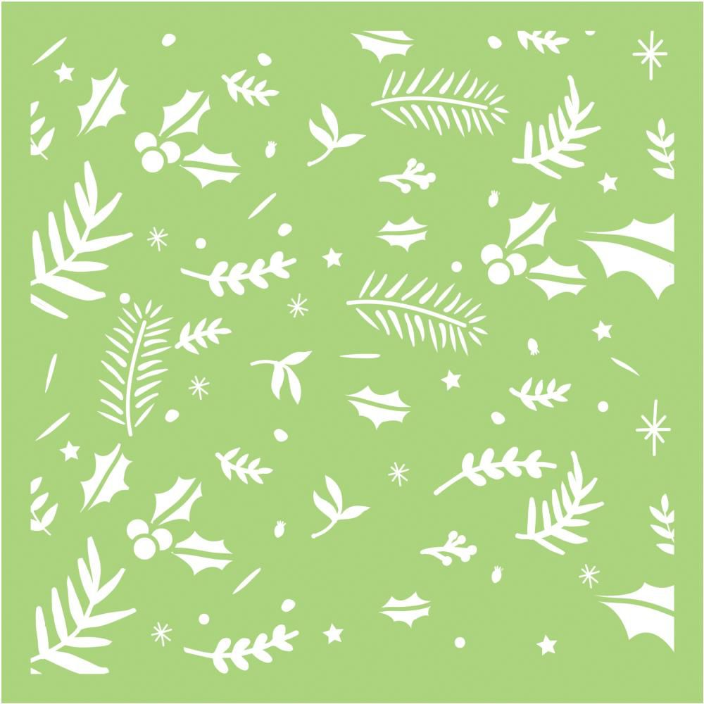 6 X 6 POCHOIR FEUILLAGE FESTIF - Festive Foliage