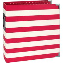 6X8 SN@P! BINDER RED STRIPES - Album Classeur rouge à rayures