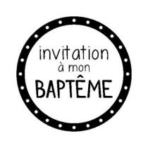 BLOC + TAMPON TRANSPARENT INVITATION BAPTEME BAPTEME