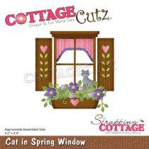 "Cat In Spring Window 3.2\""X2.4\"""