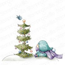 Cling Stamps Bundle Girl W/Christmas Tree And Birdie