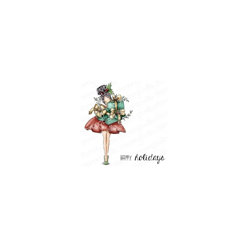 Cling Stamps Curvy Girl With Holiday Gifts