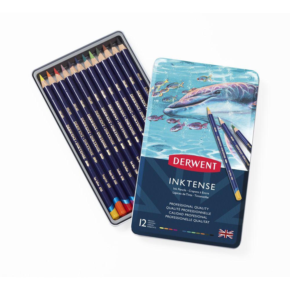 DERWENT - INKTENSE - boîte métal 12 crayons base encre aquarellables