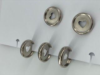 Disque de reliure en plastique 2,2 cm argent avec coeur