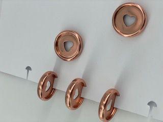 Disque de reliure en plastique 2,2 cm rose gold avec coeur