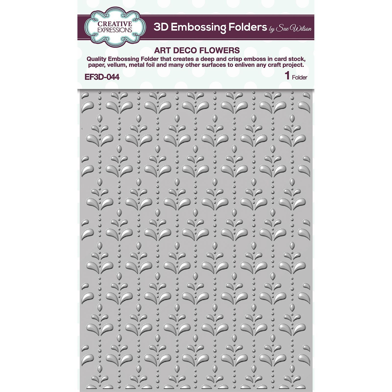 "Embossing 3D Folder 5.75\""X7.5\"" Art Deco Flowers"