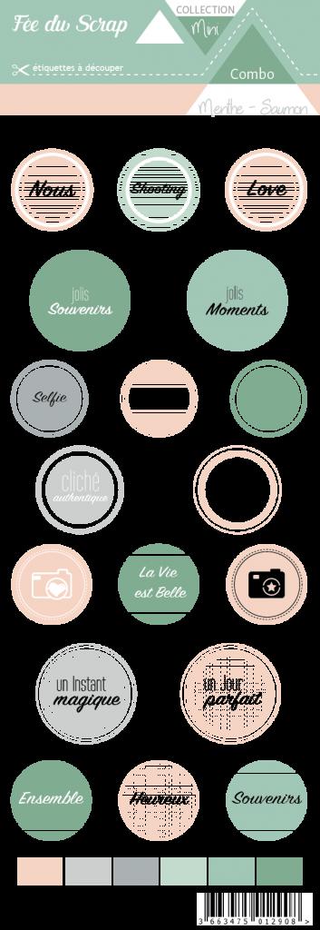 étiquette combo menthe/saumon ronds avec mots