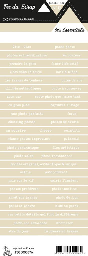 étiquette les essentiels bandes de mots beige hivernal