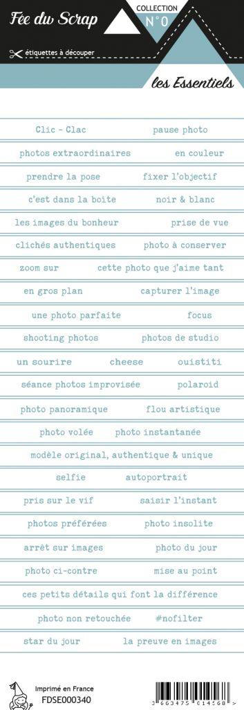 étiquette les essentiels bandes de mots bleu gris marin