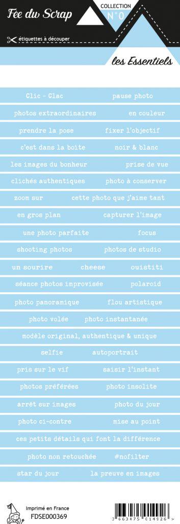 étiquette les essentiels bandes de mots bleu pâle chic