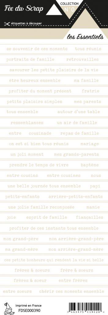 étiquette Les essentiels bandes de mots fond blanc écriture beige clair