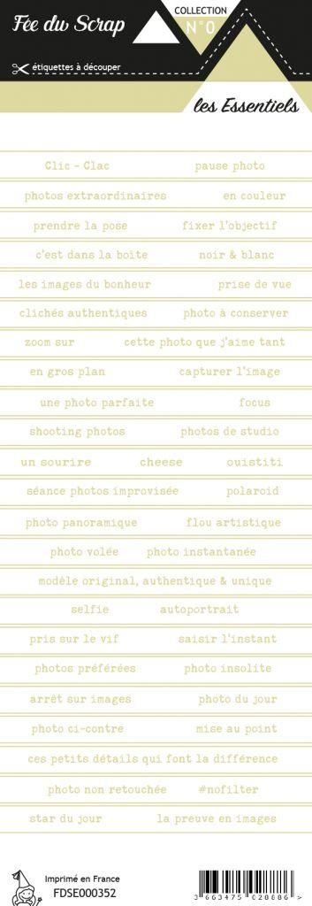 Etiquette les essentiels bandes de mots fond blanc écriture vert clair