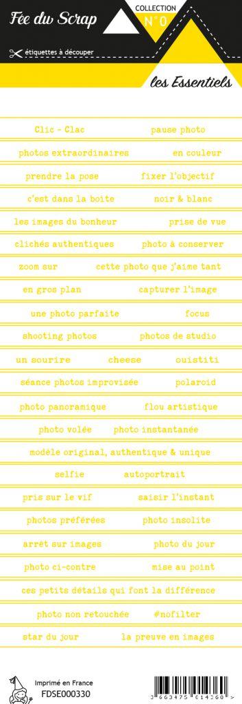 étiquette les essentiels bandes de mots jaune chic