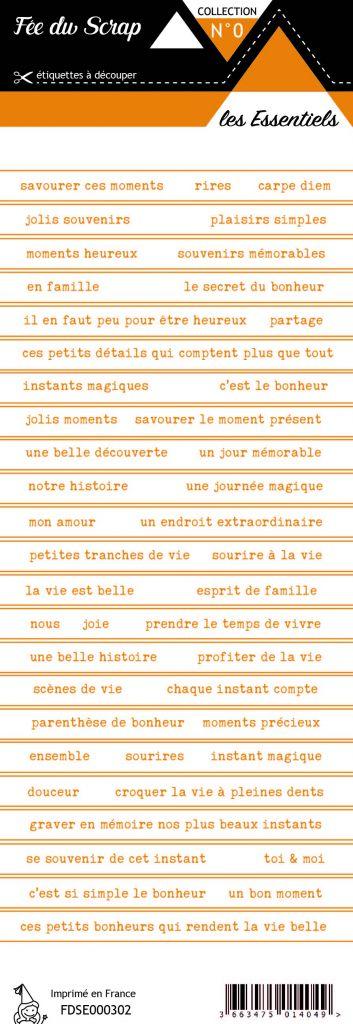 étiquette les essentiels bandes de mots orange automnal