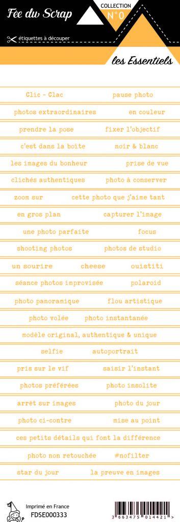étiquette les essentiels bandes de mots orange printanier