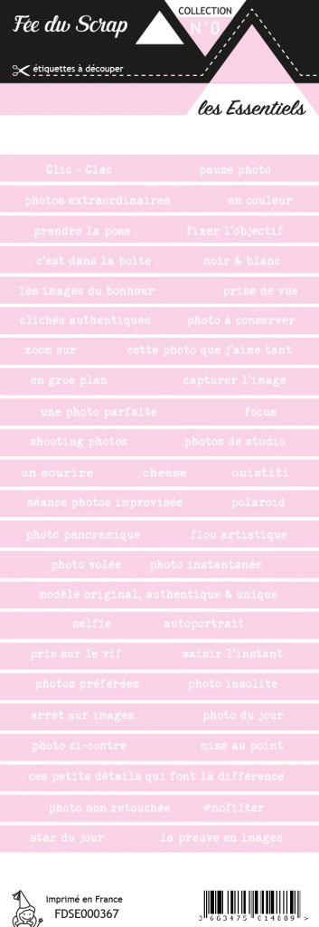étiquette les essentiels bandes de mots rose pâle chic