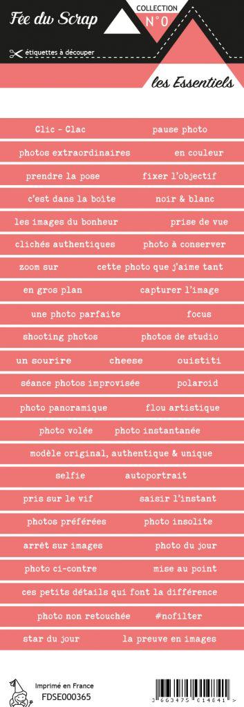 étiquette les essentiels bandes de mots rouge pâle chic
