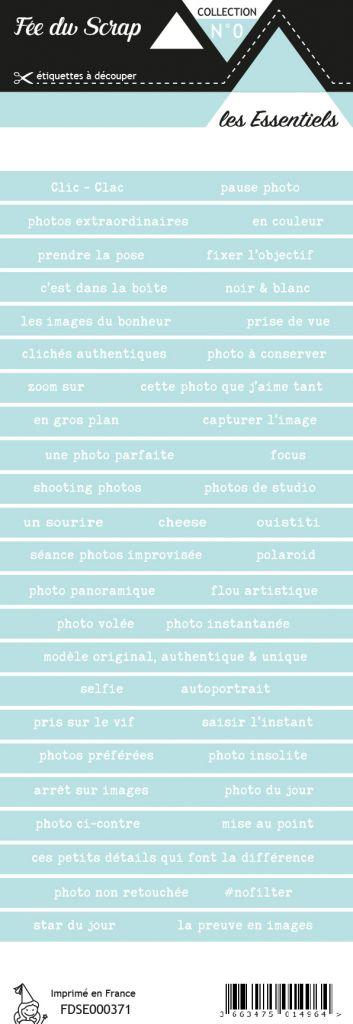 étiquette les essentiels bandes de mots turquoise clair chic