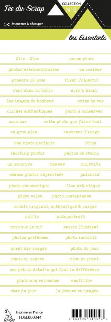 étiquette les essentiels bandes de mots vert chic